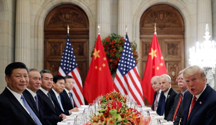 Chinese and US delegations led by Xi and President Donald Trump at a working dinner after the G20 leaders summit in Buenos Aires, Argentina, in December 2018. Reuters/Kevin Lamarque