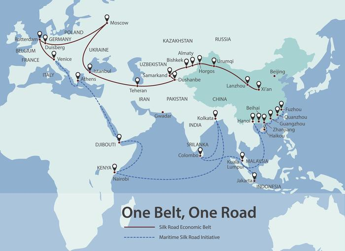 Map showing key cities and ports in the Belt and Road Initiative. (Getty Images) Source: Getty Images