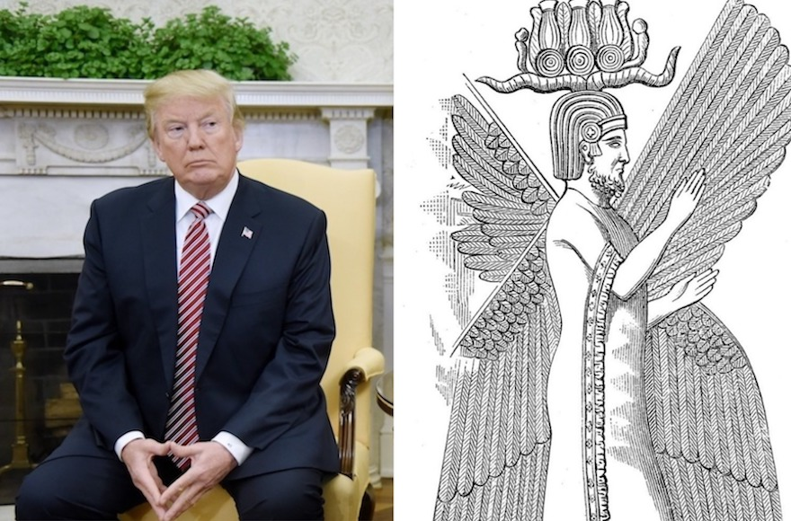 President Donald Trump in the White House, Feb. 9, 2018, and an illustration of Cyrus the Great. (Getty Images/Wikimedia Commons)