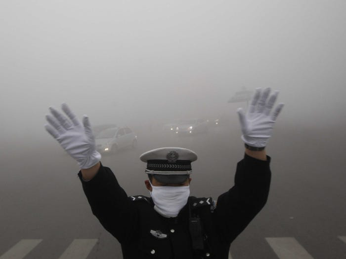 Smog in Beijing. REUTERS/China Daily