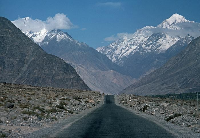 The Karakoram Mountains from the old Silk Road route of the Karakoram Highway, on the Pakistan side of the China-Pakistan border. (Getty Images) Source: Getty Images