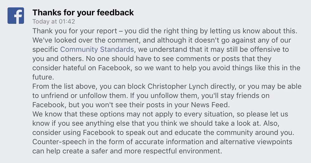 Facebook Reply to complaint