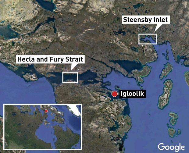 Map: Igloolik area Hecla and Fury Strait